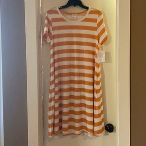 Mustard yellow striped LLR Jessie swing dress.